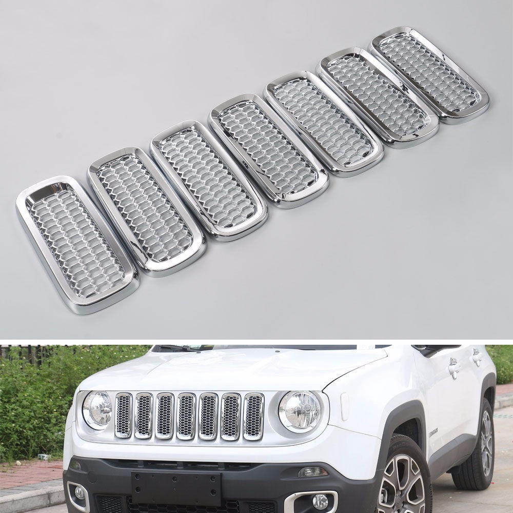 7x Auto Chrome ABS Silver Front Mesh Grille Insert Guard Cover Trim Decor Frame For Jeep Renegade 2015-2017 Car Styling Sticker high quality for toyota highlander 2015 2016 car cover bumper engine abs chrome trims front grid grill grille frame edge 1pcs