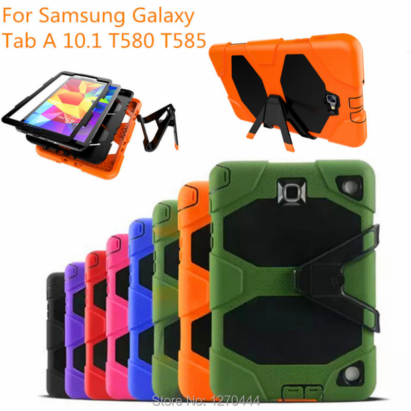 For Samsung Galaxy Tab A A6 10.1 2016 SM-T580 T580N T585 T585C tablet Military Heavy Duty Silicone Rugged Stand Protective Cover heavy duty silicone hard case cover protector stand tablet for samsung galaxy tab a a6 10 1 2016 t585 t580 sm t580 stylus