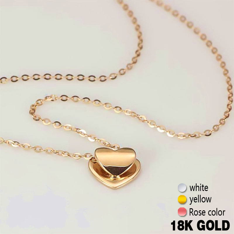 18k Pure Rose Gold Pendant Necklace Genuine Smart Heart Lovely Charm Gift For Girlfriend Fashion Trendy 2017 Hot Sale Good New new pure au750 rose gold love ring lucky cute letter ring 1 13 1 23g hot sale