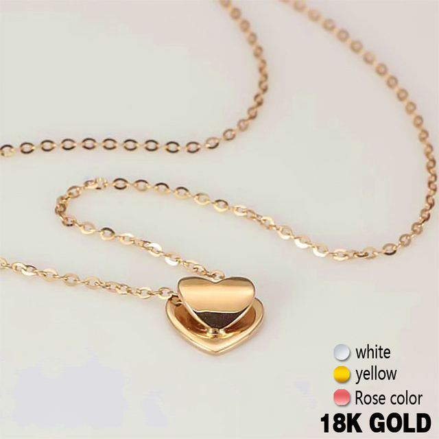 18k pure rose gold pendant necklace genuine smart heart lovely charm 18k pure rose gold pendant necklace genuine smart heart lovely charm gift for girlfriend fashion trendy aloadofball Gallery