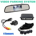 DIYKIT  4.3 Inch Rear View Mirror Car Monitor Kit + 4 Parking Radar + IR Night Vision Car Camera Parking Assistance System