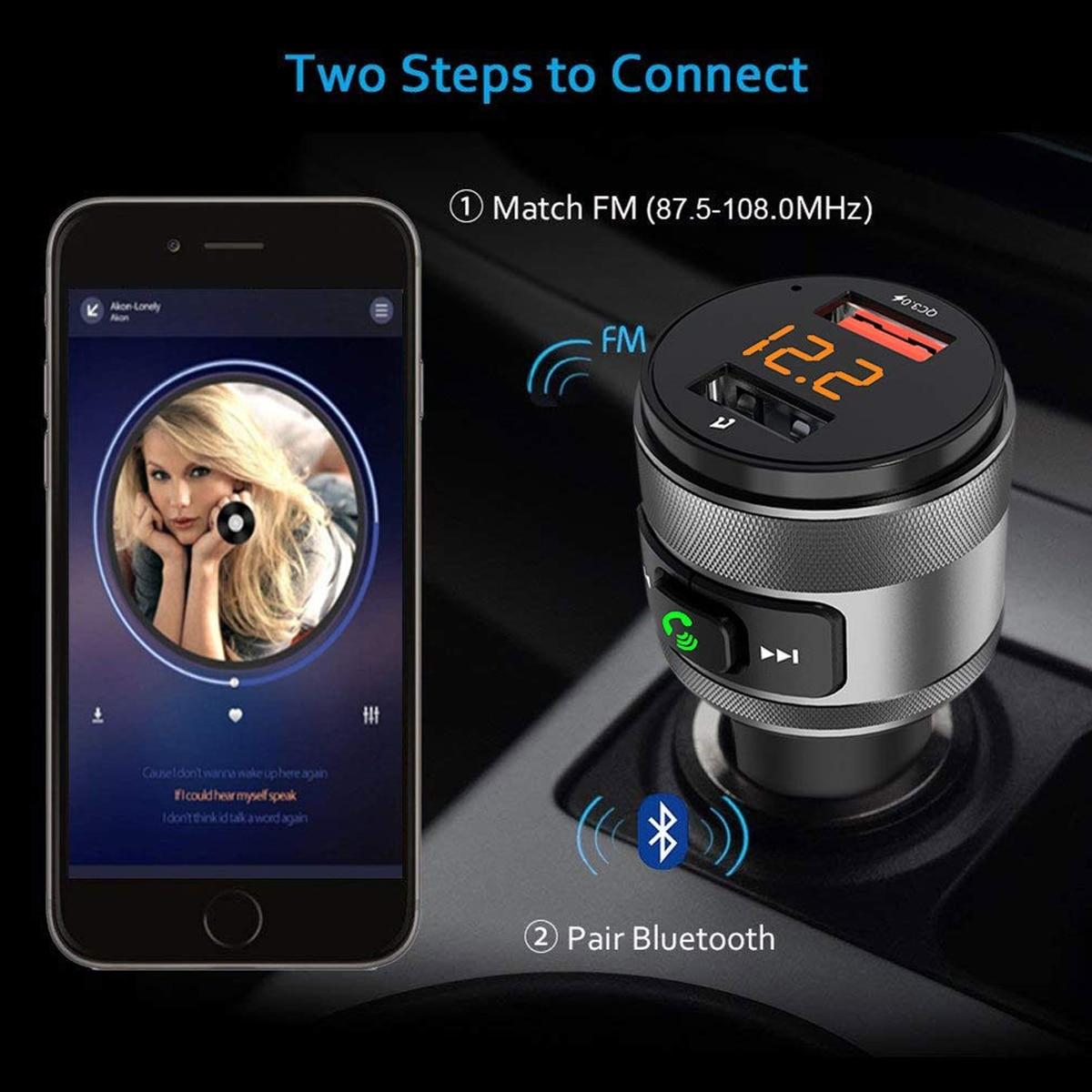 Image 3 - Автомобильное зарядное устройство C57 с двумя usb портами quick charge 3,0, Bluetooth, fm передатчик, автомобильный комплект, MP3 музыкальный плеер, беспроводной fm радио адаптер-in FM-трансмиттеры from Автомобили и мотоциклы on AliExpress - 11.11_Double 11_Singles' Day