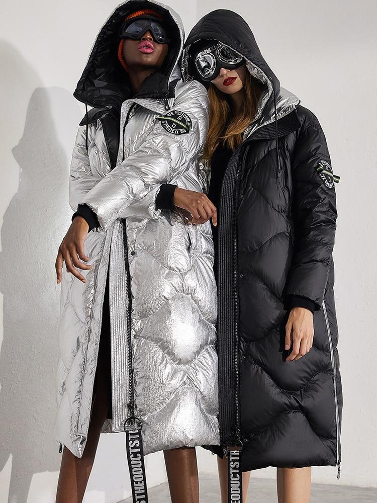 Дизайнерская мода 2018 зимняя куртка женские пуховики пальто уличные кнопки металлические блестящие женские пуховики Верхняя одежда длинна...