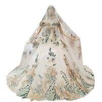 Backlakegirls Бисер зеленый Роскошные вечерние платья 100% реальные вечернее платье Vestido Festa бальное платье шаль с длинным рукавом Тюль Цветы