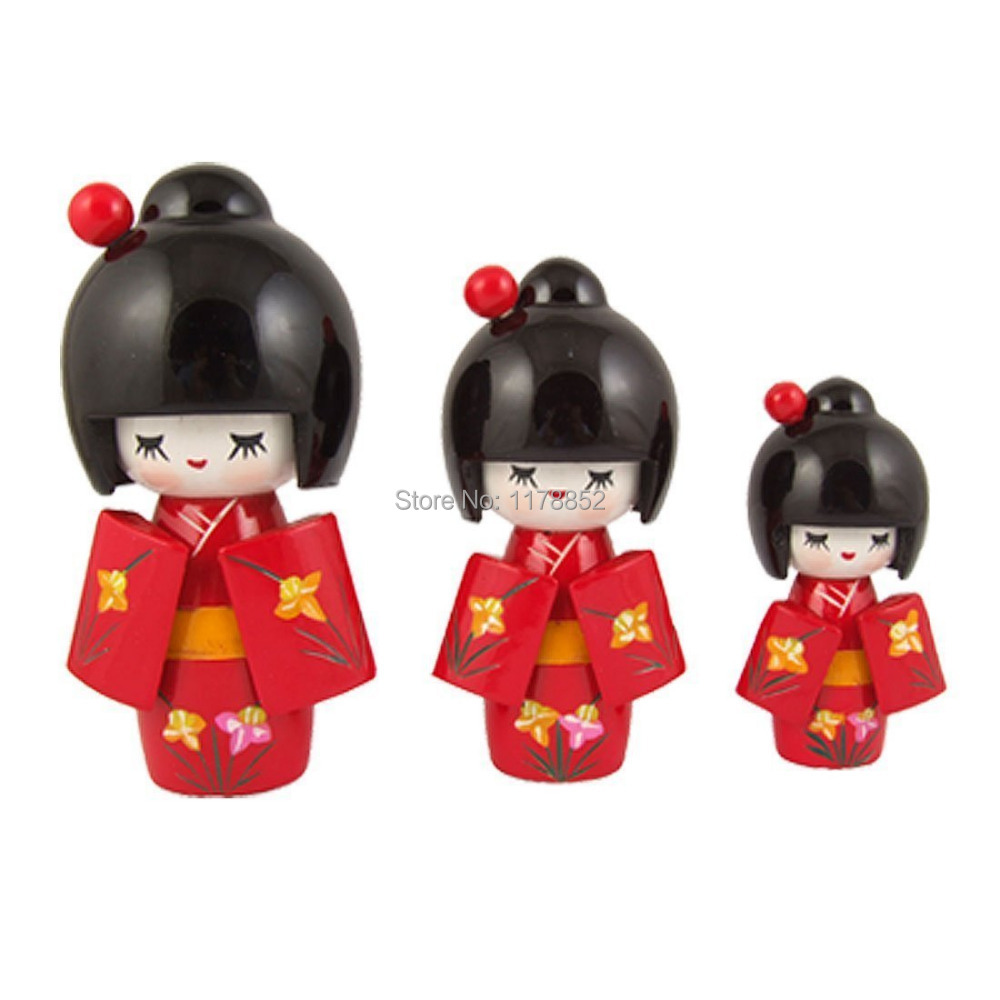 Japanese Toys And Gifts : Japanese kimono lovely girl wooden kokeshi doll toy pcs