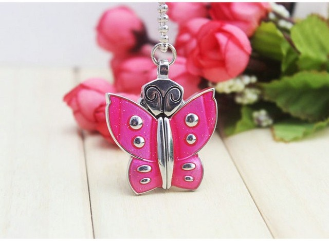 chaoyada brand 1pcs Stainless Steel Butterfly Necklace Key chain Pocket Watches Quartz Pendant Watch