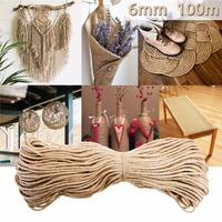 6mmx100m High quality Brown Sisal Ropes Jute Twine Rope Natural Hemp Cord Decor Cat Pet Scratching string DIYHome Art Decor