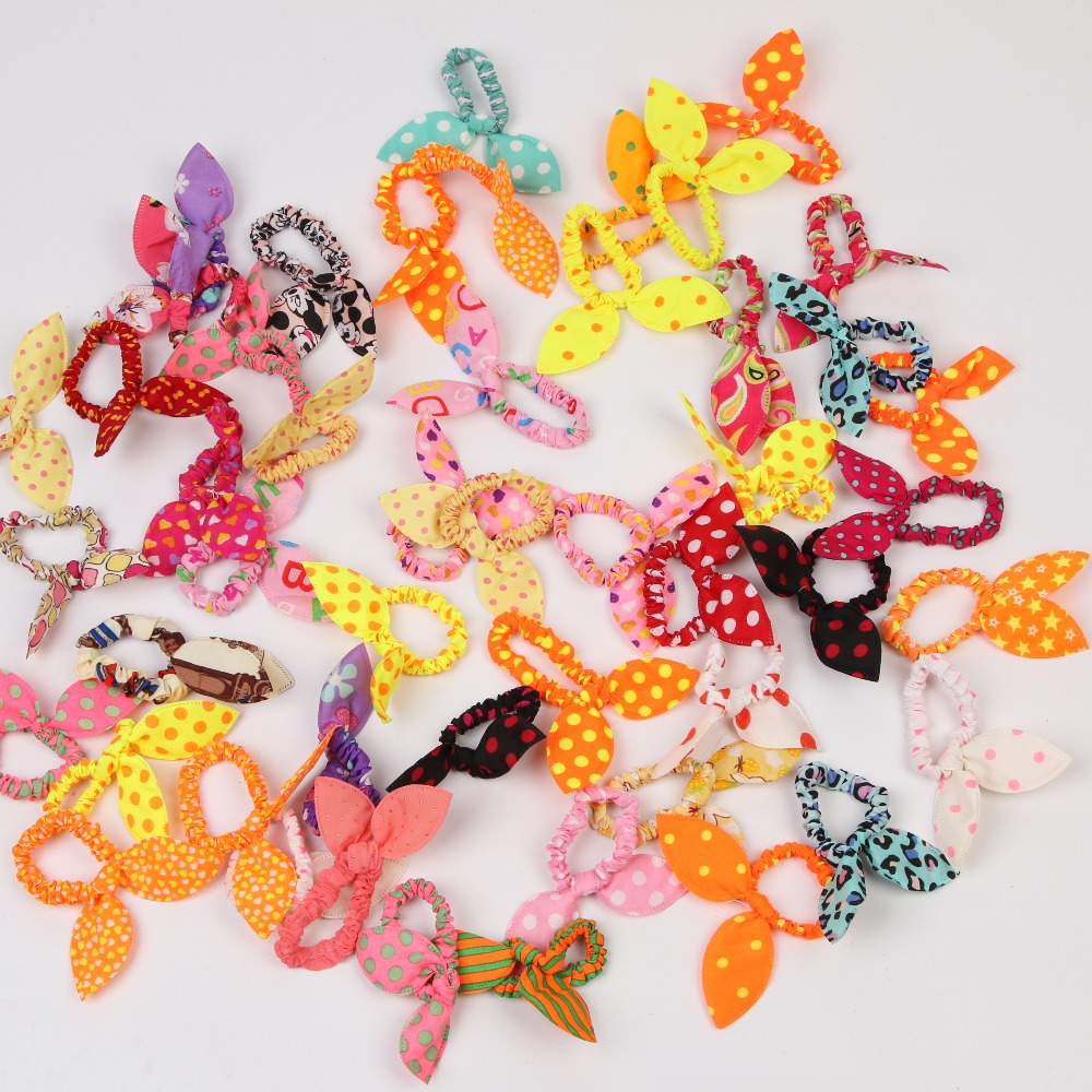 Children Kids Girl Hair Band Scrunchies Elastic Hair Bands For Baby Mother Rubber Band Polka Dot Hair Accessories