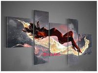 Handmade 5panel Huge Realistic Painting Beautiful Hot Naked Girl Body Women Nude Sexy Oil Painting On Canvas Home Decor Wall Art