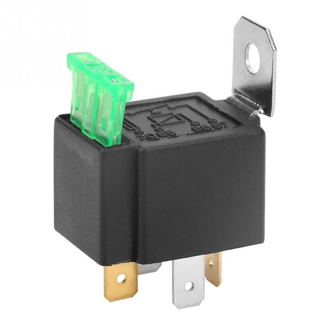 Black 4-Pin DC 12V 30A Car Normally Open Contacts Fused Relay On/Off With Bracket