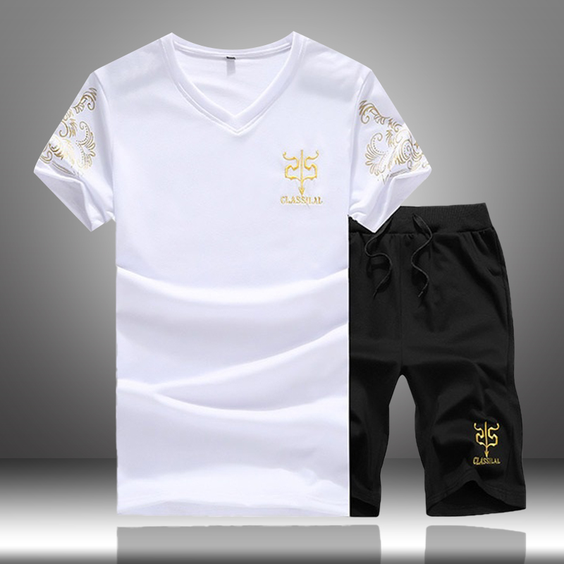 Men Casual Sets Summer Solid Printed Male Tracksuit Tee Shirt+Shorts Sportsuit 2019 Male Two Piece Shorts Sets Moletom Masculino