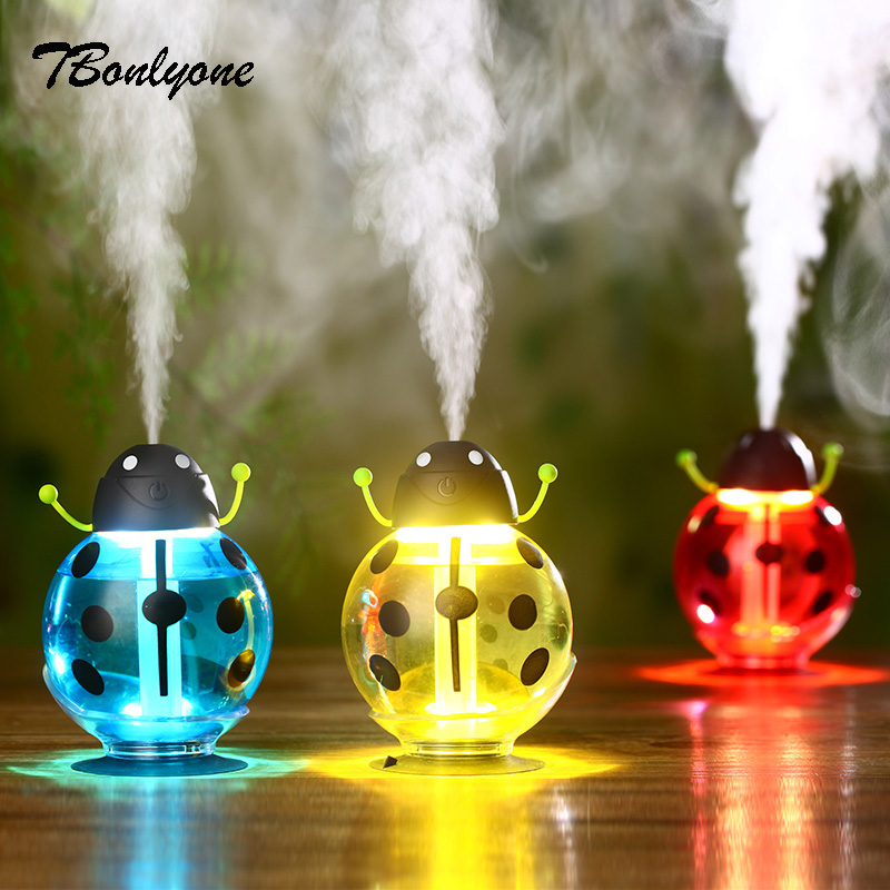 TBonlyone 260ML Mini USB Portable Ultrasonic Beetles Humidifier Air Diffuser Mist Maker 5V Bottle Led Light For Home Office Car 5v led lighting usb mini air humidifier 250ml bottle included air diffuser purifier atomizer for desktop car