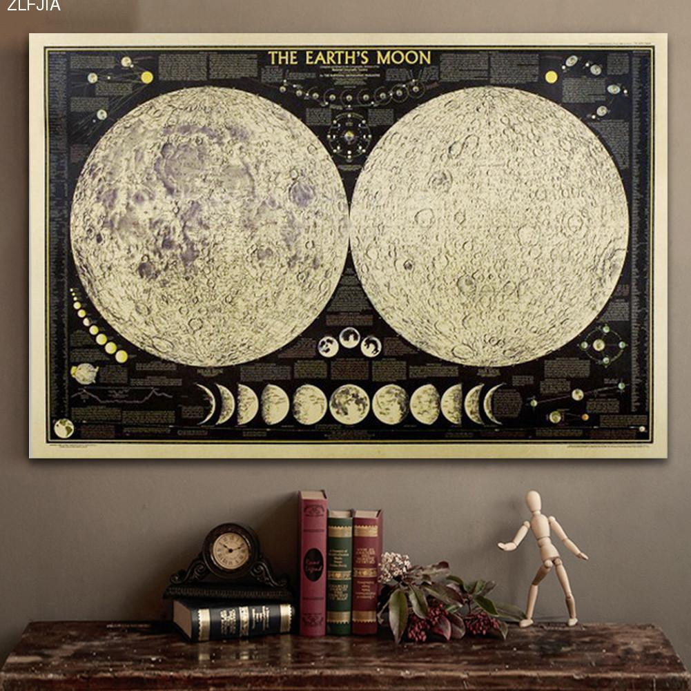 Total Lunar Eclipse Retro Moon Kraft Paper Poster Home & Kitchen Cafe Decorative Painting Gifts Home & Living Decor 48*72cm