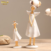 DMLS Angel Mother Baby Fairy Ornaments Home Decoration Resin Fairy Angel Resin Crafts Artware 2pcs/set free shipping