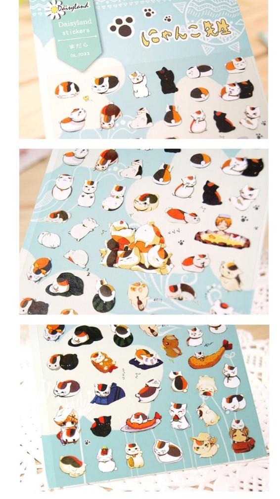TIAMECH 1Sheet New Cat Teacher Natsume Friends Account Account Journal Decoration Hand Print Sticker H0215