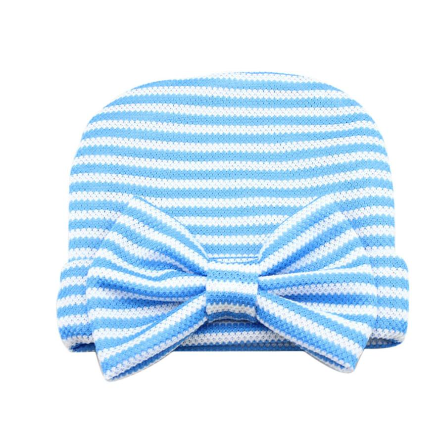 New Newborn Baby Hats Cute Girl Striped Hat Boy Beanie Hospital Hat Bowknot Crochet Knitted Caps Photography Props Costume #LH cute newborn baby photography props outfits knit crochet hat tie pants costume set bebes roupa infantil bebek d