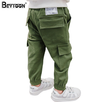 Beytoon Kids Boys Pants Casual Toddler Pants Boys Trousers 2017 New Army Green Patch Pocket Teen