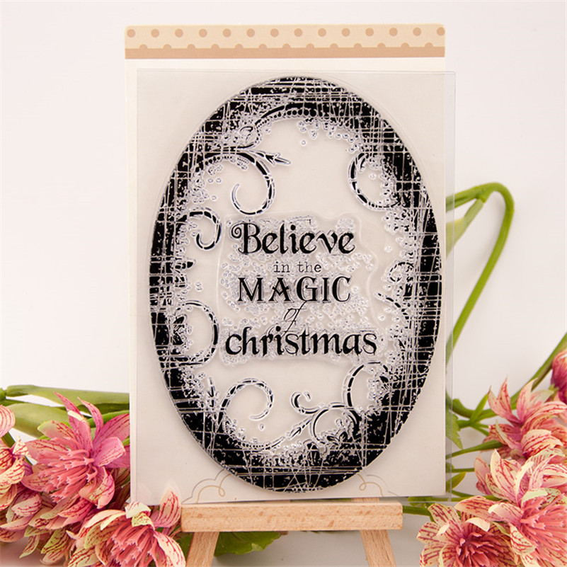 Scrapbook DIY photo cards believe magic christmas day silicone stamps transparent stamp for christmas gift RM-228 неделя чудес seven day magic
