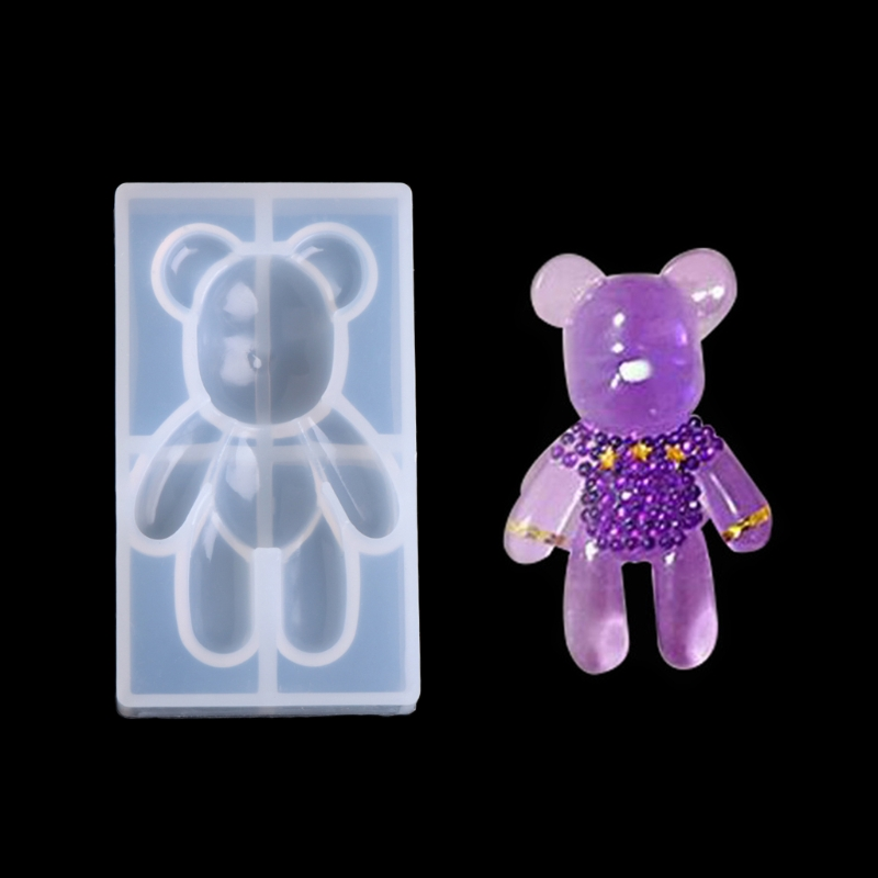 Free Shipping Transparent Silicone Pendant Mould Resin Bear Shape DIY Jewelry Making Tool Fondant Cake     -W128