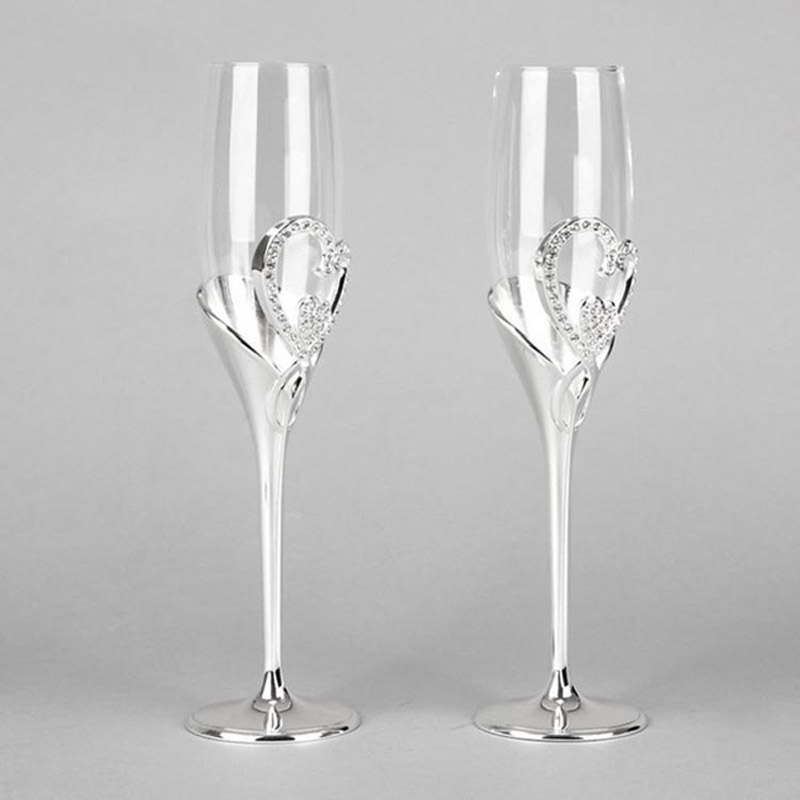 2pcs Silver Wedding Champagne Flutes Red Wine Glass Of Brandy Goblet Crystal Cup Drinking Glasses Stemware
