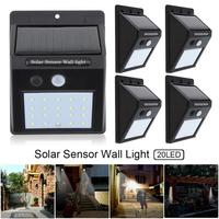 5pcs 20 LED Garden/Fence/Patio Solar Light Motion Sensor Wall Lamp Outdoor Waterproof Courtyard Light
