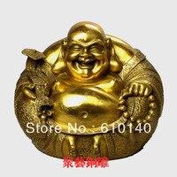 Bronze sculpture, copper laughing buddha decoration Large lucky buddha crafts decoration Bronze statue copper