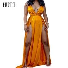 HUTI Sexy Deep V-neck Sleeveless High Split Maxi Gold Dress Women Summer Hollow Out Open Back Elegant Dress Ladies Party Wear striped trim cut out back high split maxi dress