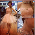 Burgundy Ball Gowns Backless Women 8th Grade Prom Party Skirt High Neck Short Peach Homecoming Dresses 2017 With Pearls Crystal