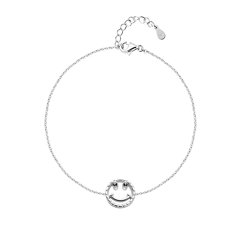 LEKANI 2019 Simple Cute Charming Bracelets With Round Smile Face Cubic zirconia 925 Sterling Silver Bracelets for Women GirlsLEKANI 2019 Simple Cute Charming Bracelets With Round Smile Face Cubic zirconia 925 Sterling Silver Bracelets for Women Girls