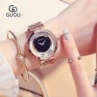 GUOU Women S Watches Ladies Watch Fashion Luxury Bracelet Watches For Women Rose Gold Rhinestone Clock