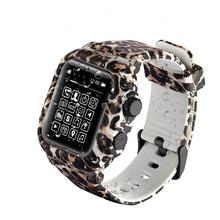 Silicone Sports Strap for apple watch band 42mm bracelet with TPU Face Protective watch Case for apple watch 4 band 44mm Leopard canvas strap watch with flower face
