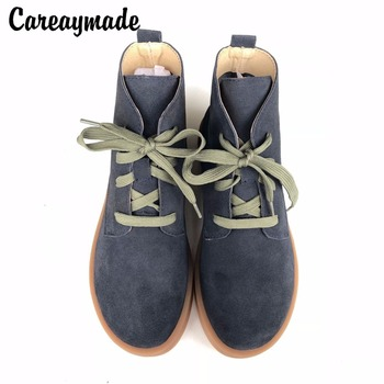 Careaymade-wiosna, oryginalne skórzane buty, czysta handmade botki, retro sztuki mori dziewczyna buty, moda retro Japane buty, 2 kolor