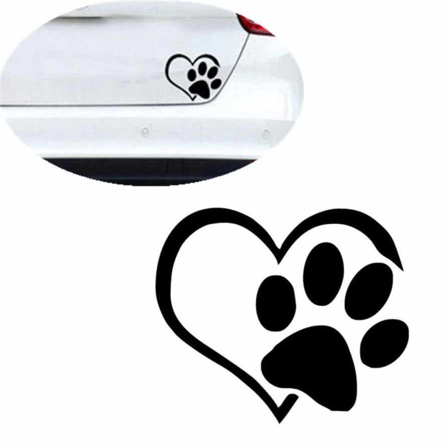 Hot Selling Car Stickers 1pc Cute Pet Print With Heart Dog Cat Vinyl Decal Car Window Bumper Sticker