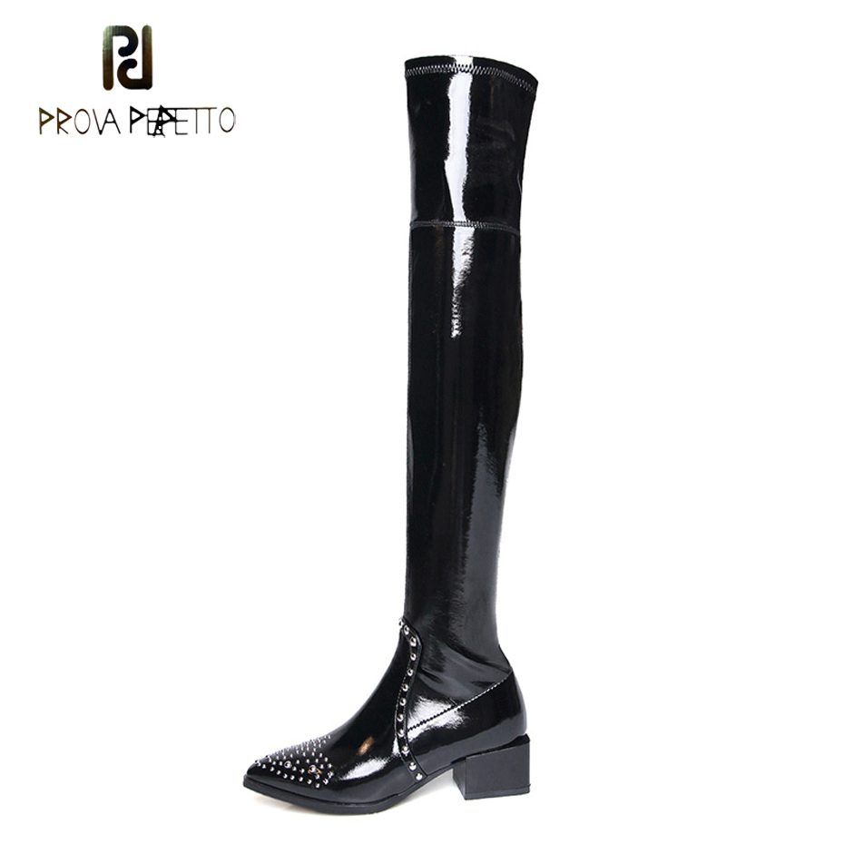 Prova Perfetto rivet pointed toe over the knee boots for women patene leather zippers winter shoes women fashion thigh high boot enmayer geuine leather women boots winter shoes for women zippers pointed toe knee high ruffles pink plus size 34 43 fashion