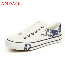ANDAOL Men's Casual Shoes Top Quality Print Skull Breathable Non-Slip Light Sneakers New Luxury Lace-Up Campus Canvas Trainers runner print slip on water trainers