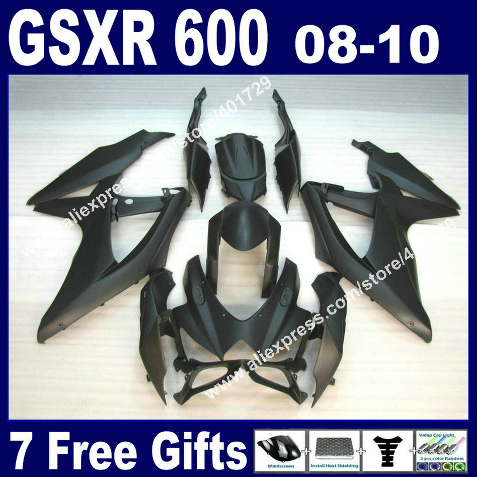 High grade Fairings for SUZUKI <font><b>2008</b></font> 2009 2010 <font><b>GSXR</b></font> <font><b>600</b></font> 750 K8 all flat black GSXR600 GSXR750 08 09 10 autocycle kit 7 gift UB63 image