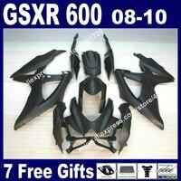 High grade Fairings for SUZUKI 2008 2009 2010 GSXR 600 750 K8 all flat black GSXR600 GSXR750 08 09 10 autocycle kit 7 gift UB63