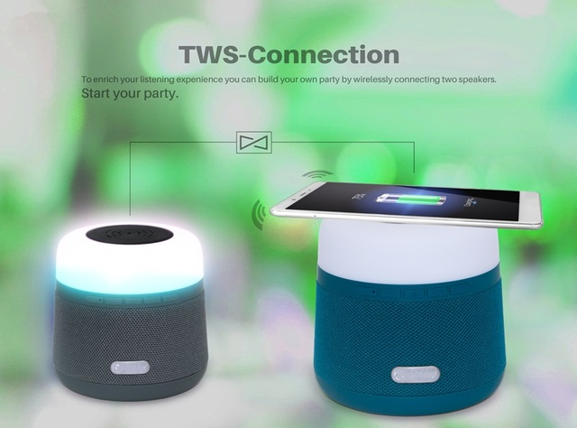 LED Bluetooth Speaker with Wireless Charger Fast Wireless Charging TWS Docking dock for iPhone X/8 Samsung Note 8/9