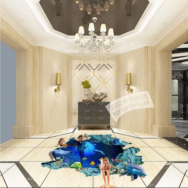 gratis verzending 3d outdoor vloer tekening dolfijn strand verdikte waterdicht slaapkamer woonkamer badkamer vloeren muurschildering