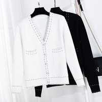 Queechalle Autumn knitted cardigans for women v neck long sleeve casual loose cardigan coat Female white black outerwear tops