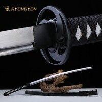 Ручной катана настоящий меч Sharp подлинной японский меч самурая Япония ниндзя дамасский меч изогнутая сталь пластинчатое лезвие A723