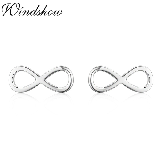 Cute 925 Sterling Silver Small Bow Love Infinity Stud Earrings For Women S Children Kids Baby