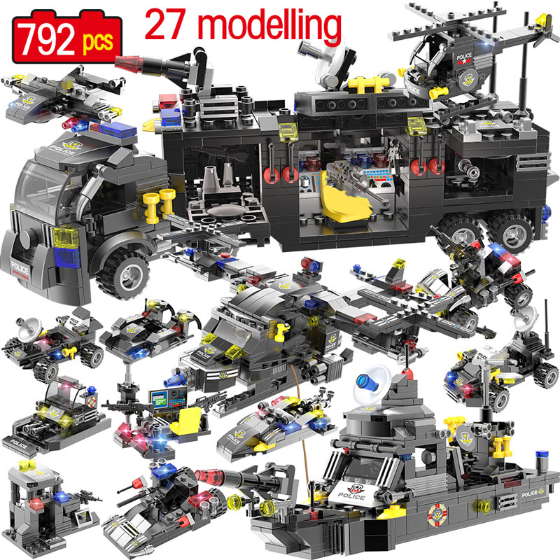 SWAT Series Building Blocks Compatible City Police Station Vehicle Car Helicopter Robot Bricks Educational Toys For Boys Kids