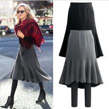 Размера плюс 6XL новые модные женские туфли осенне-зимние теплые леггинсы из плотной микрофибры имитация 2 предмета детские леггинсы юбка-годе Штаны