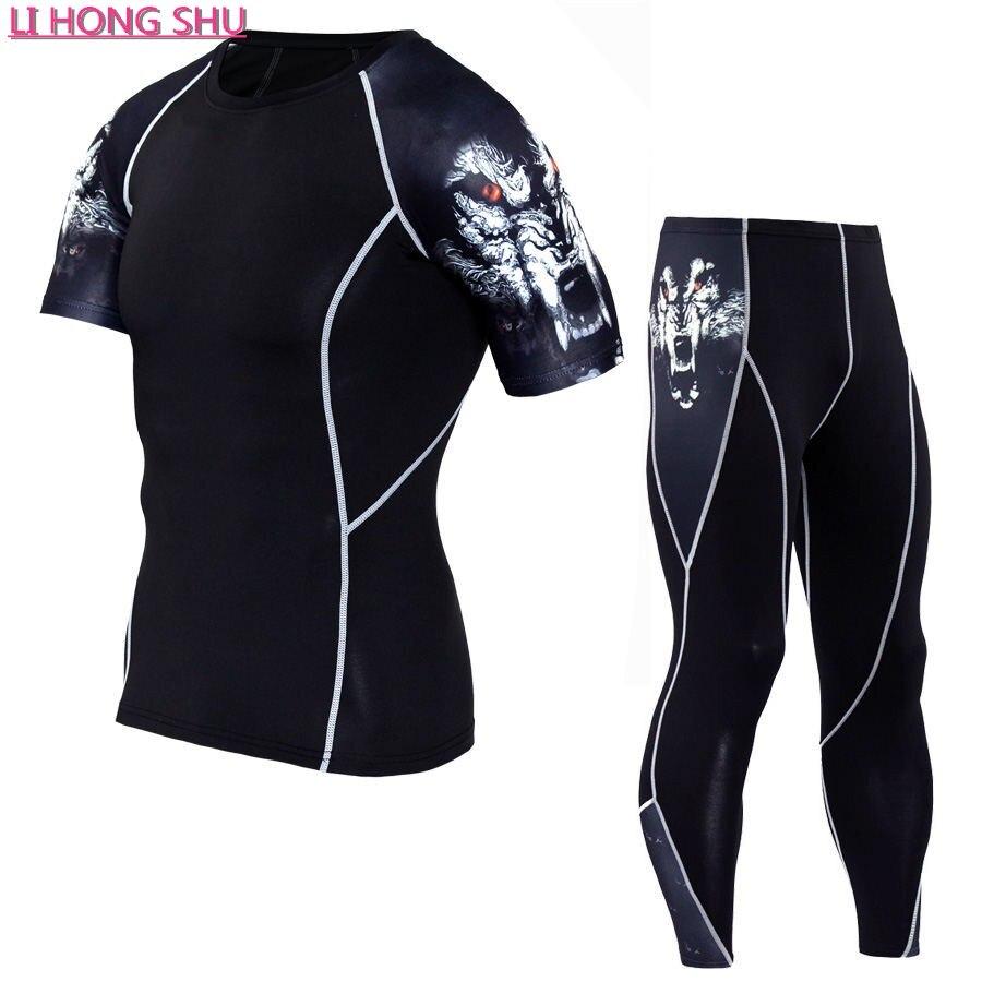 vasaras vīriešu kompresijas komplekti un T-krekli ar īsām - Vīriešu apģērbi