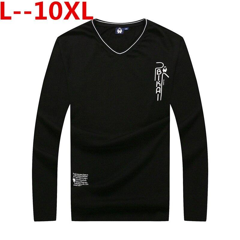 Big 10XL 8XL 6XL 5XL T-shirts décontracté és hommes à manches longues Patchwork Design Streetwear tendance col en v grande taille t-shirt hommes vêtements