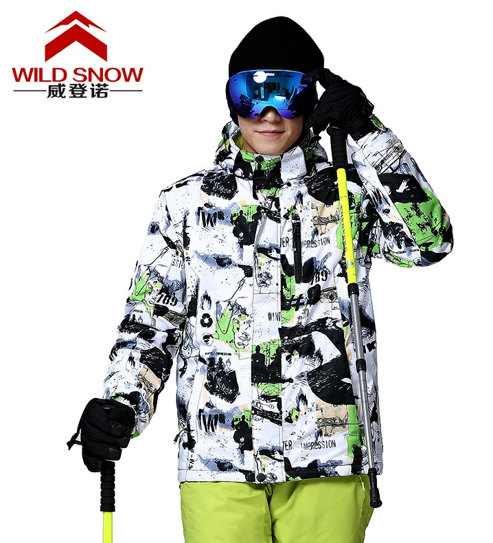 Men white and black Ski Jacket male Snow outerwear mens riding Snowboarding skiing Jackets waterproof windproof thermal skiwear