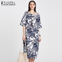 ZANZEA 2017 Womens Floral Printed Short Sleeve Cotton Linen Maxi Long Dress Loose Baggy Boho Casual