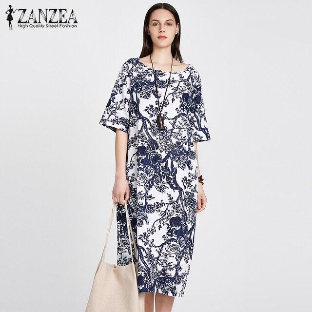 01f1a2e6a064 ZANZEA 2018 Women Floral Printed Short Sleeve Cotton Linen Maxi Long Dress  Loose Baggy Boho Casual