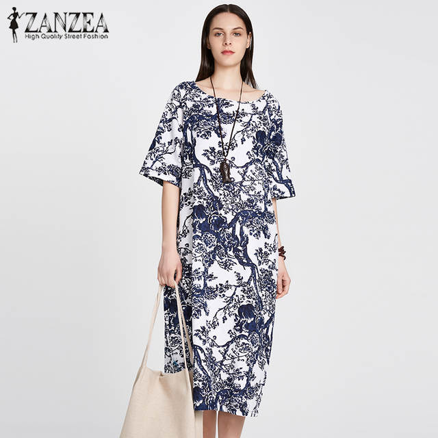 Online Shop ZANZEA 2018 Women Floral Printed Short Sleeve Cotton Linen Maxi  Long Dress Loose Baggy Boho Casual Kaftan Tunic Plus Size M-5XL  b2bc9fa8d4b3